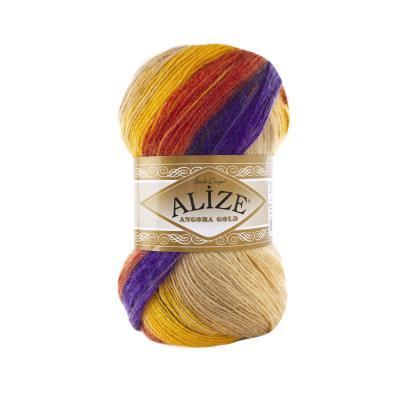Alize Angora gold Batik 6272 Фиолетовый, рыжий, желтый