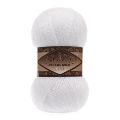Alize Angora gold Simli 55 White (белый)