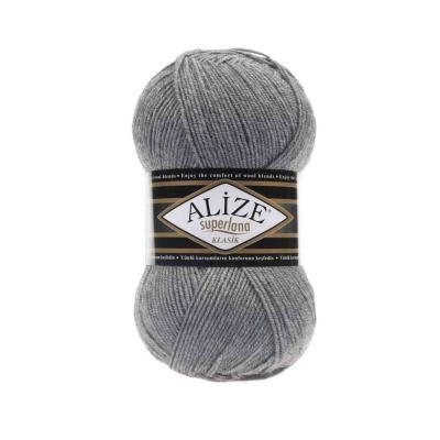 Alize Superlana klasik 21 Grey Melange (серый меланж)