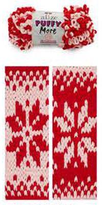 Alize Puffy More 6280 красный/св.розовый